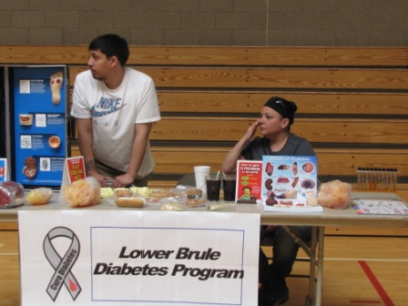 Two men displaying presentation on diabetes
