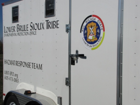 Logo on the side of the hazmat trailer