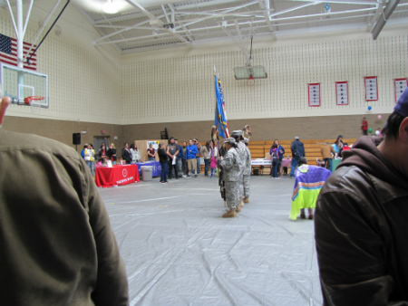 National Guard color guard in gym
